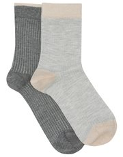 Pretty Polly ribbed ankle socks pack of two