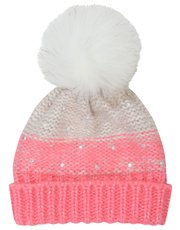 Diamante pom pom knit beanie hat