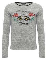 Teens' floral slogan knitted top