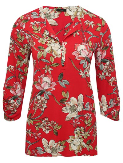 Red floral print shirt