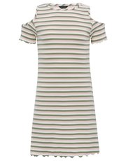 Teens' striped cold shoulder dress