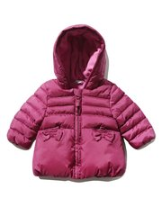 Bow pocket padded hooded coat