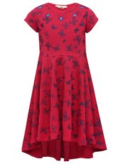 Butterfly print dip hem skater dress