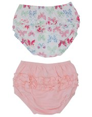 Plain and butterfly print frilly knickers