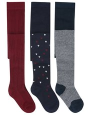 Stripe heart and cable knit tights three pack