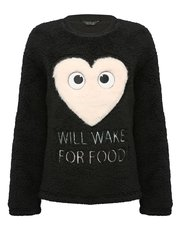 Heart slogan fleece pyjama top
