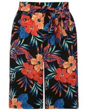 Tropical print tie front short