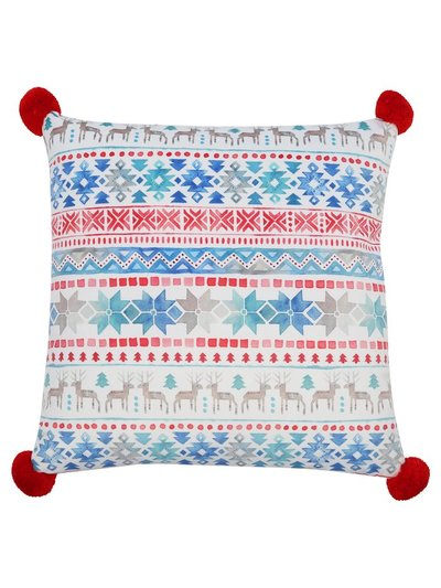 Fairisle pompom cushion