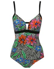 Chevron floral tummy control swimsuit