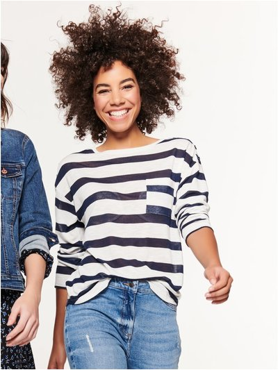 Stripe button shoulder top