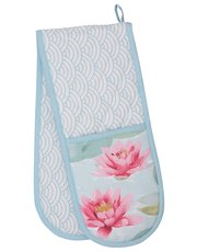 Waterlily print double oven glove