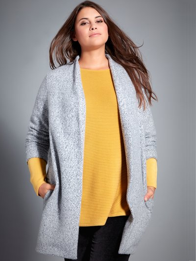 Plus textured open front coat