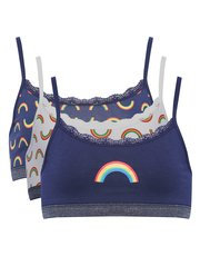 Teens' rainbow print crop top three pack