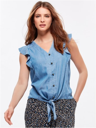 Petite frill sleeve top