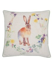 Floral hare print cushion