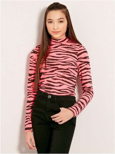 Teens' neon tiger choker top