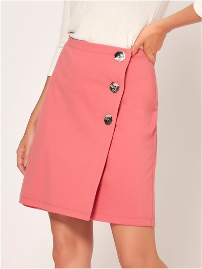 Petite button ponte skirt