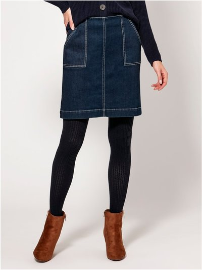 Contrast stitch denim skirt