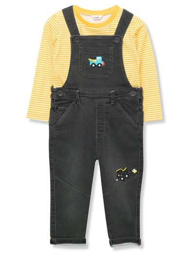 Stripe top and dungarees set (9mths-3yrs)