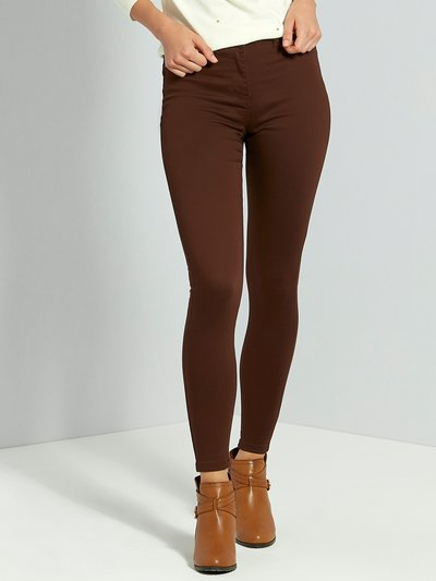 Brown fly front jeggings