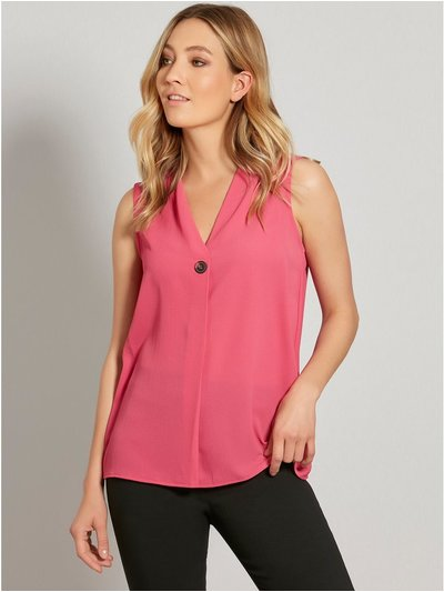 Sleeveless button v neck top
