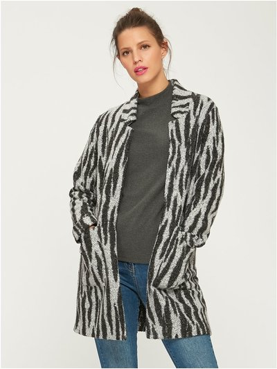 Zebra open front coat