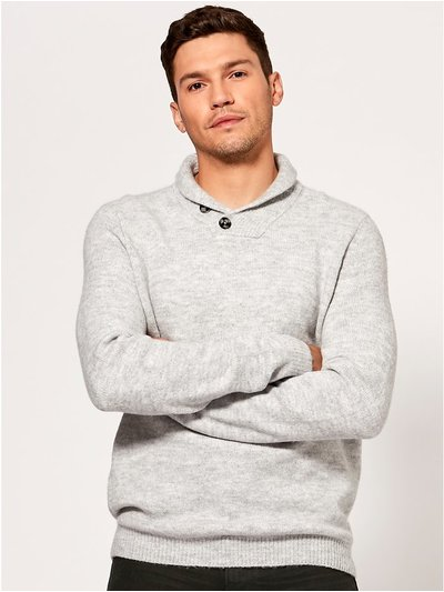 Shawl neck knit jumper