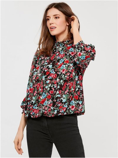 High neck floral blouse