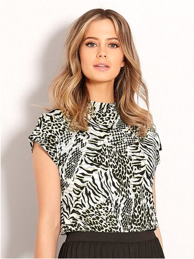 Petite neon animal print high neck top