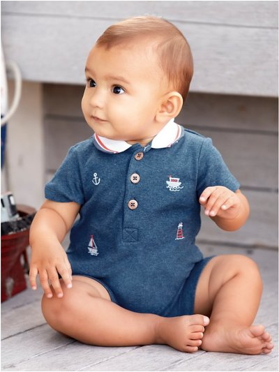 Embroidered boat polo romper (Newborn - 18 mths)