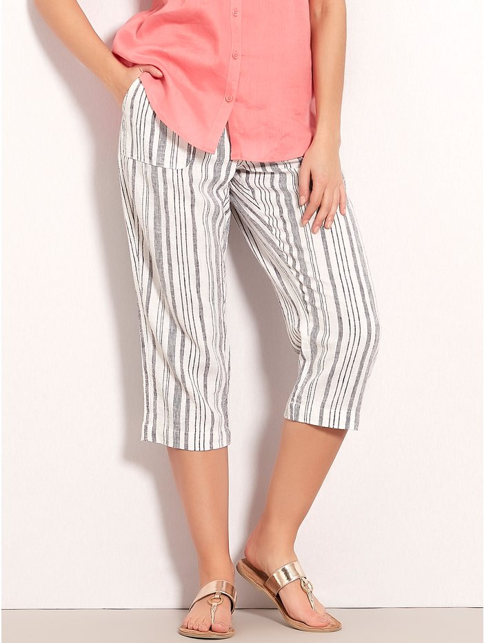 13503fe9c7 Petite Striped Cropped Linen Trousers