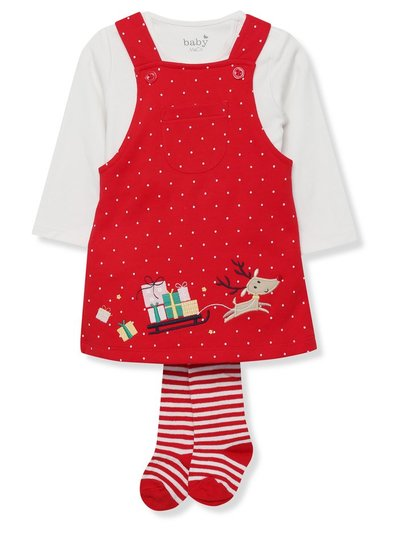 Reindeer Christmas dress tights and bodysuit set (Newborn - 18 mnths)