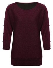 Button sleeve glitter knit jumper