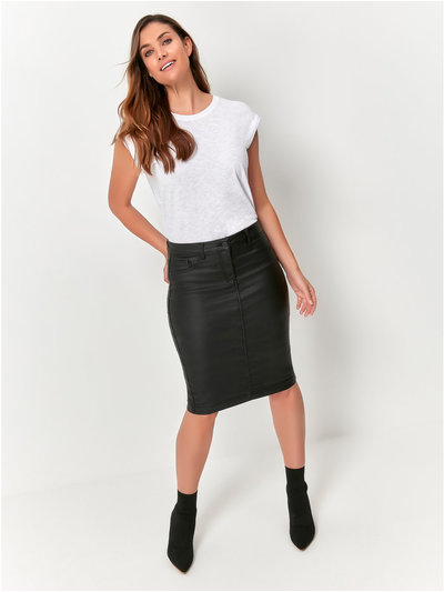 Coated midi skirt