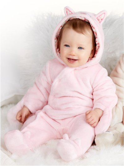 Cat fleece pram suit (Newborn - 12 mths)