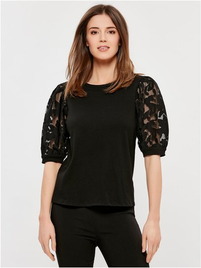 Jacquard puff sleeve top