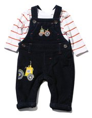 Cord tractor dungarees and bodysuit set
