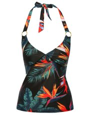 Birds of paradise halterneck tankini top