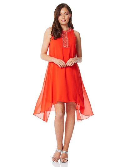 Roman Originals embellished overlay swing dress