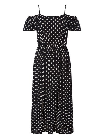 Roman Originals polka dot cold shoulder dress