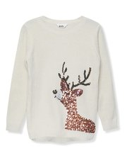Sequin reindeer Christmas jumper (3-12yrs)