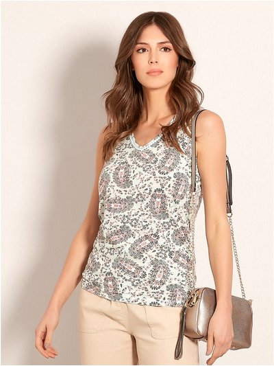 Ruched paisley print vest top