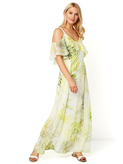 Roman Originals leaf print cold shoulder maxi dress