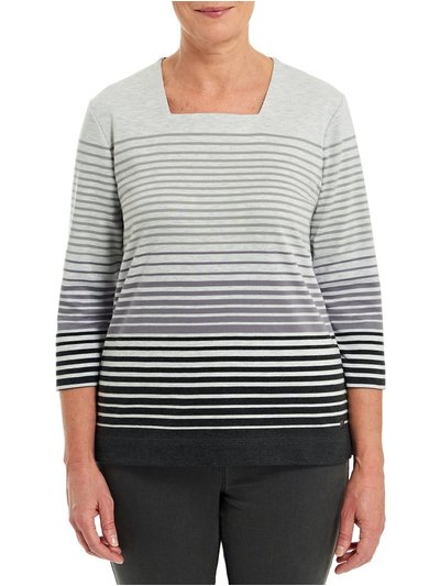 TIGI grey striped square neckline top