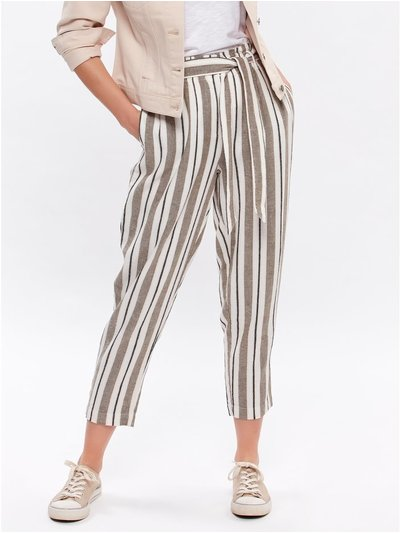 Petite striped linen trousers