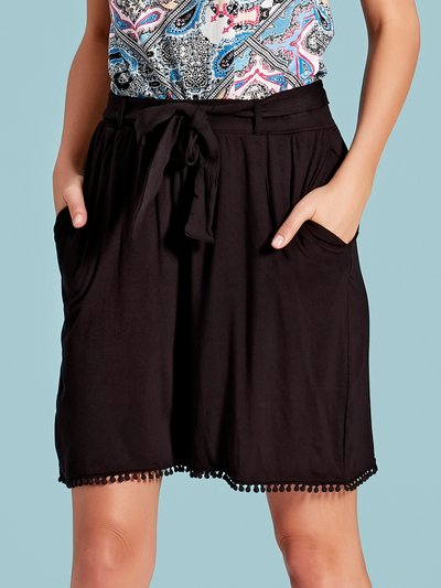 Lace trim tie waist shorts