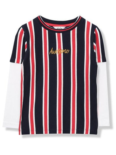 Awesome slogan stripe t-shirt (9mths-5yrs)