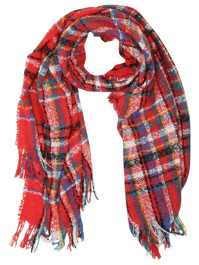 Boucle red check scarf