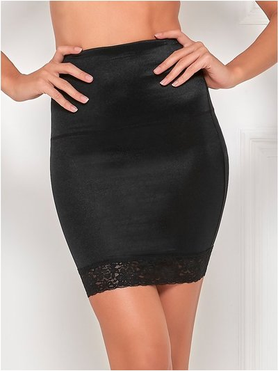 Lace trim control half slip skirt