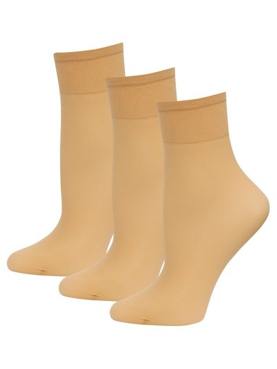 10 Denier ankle socks pack of three